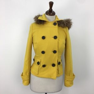 dELiA*s Yellow Fur Lined Hooded Pea Coat